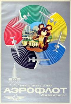 Original Vintage Poster Moscow Olympic Games Aeroflot Soviet Airlines Misha Bear