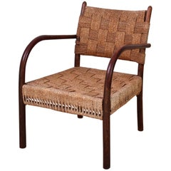 K. Scröder Armchair, Stained Beech and Woven Seagrass, 1930s