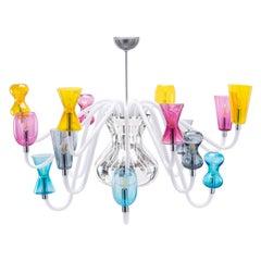 21st Century Karim Rashid Chandelier 12 Lights Murano Glass Various Colors.