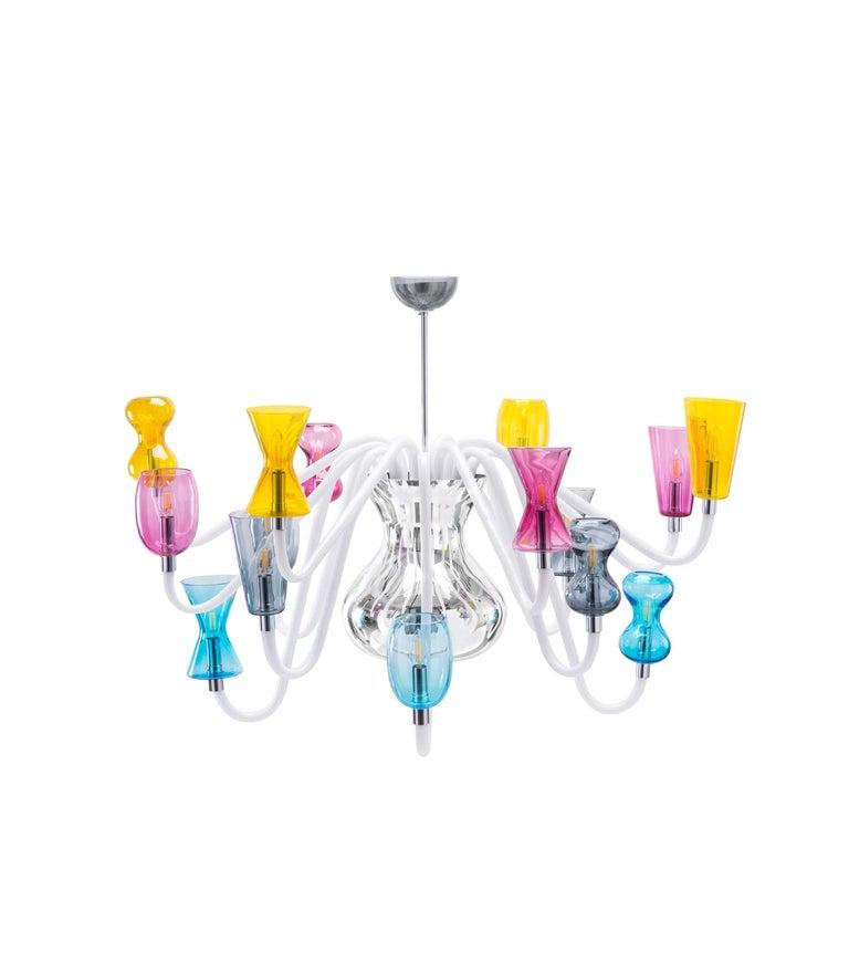 Modern K1 Chandelier 8 Lights in Murano Glass by Karim Rashid For Sale