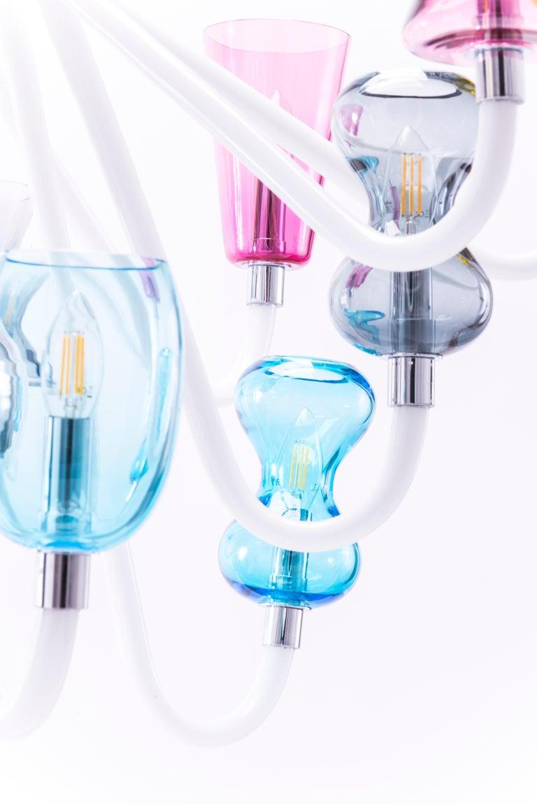 Italian K1 Chandelier 8 Lights in Murano Glass by Karim Rashid For Sale