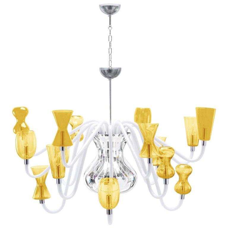 K1 Six Light Yellow Chandelier By Karim Rashid