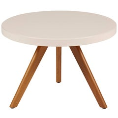 K17 Low Round Table 60 in Powder Pink with Wood Legs by Tolix