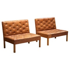 Kaare Klint 'Addition' Lounge Chairs in Original Patinated Cognac Leather