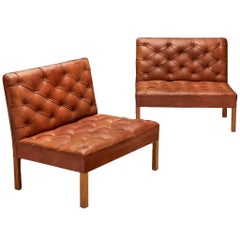 Kaare Klint 'Addition' Pair of Lounge Chairs Original Red Leather