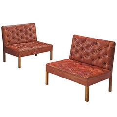 Kaare Klint 'Addition' Sofa's in Original Red Cognac Leather