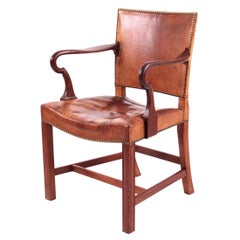 Kaare Klint and Ole Wanscher, Rare Armchair in Niger Leather and Mahogany Frame