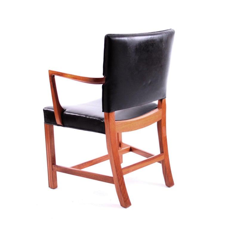 Mid-Century Modern Kaare Klint Armchair Black Leather and Mahogany Frame For Sale