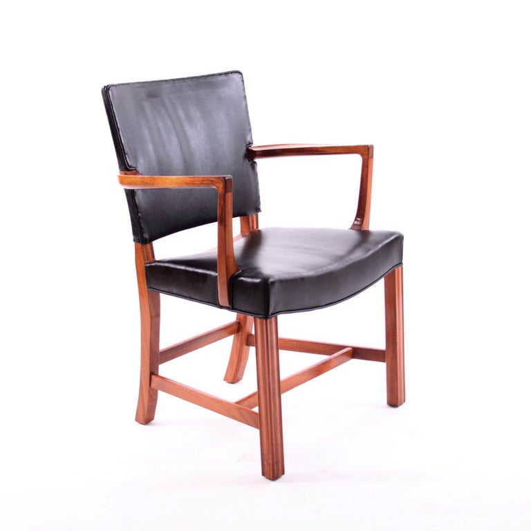 Lacquered Kaare Klint Armchair Black Leather and Mahogany Frame For Sale