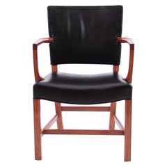 Kaare Klint Armchair Black Leather and Mahogany Frame