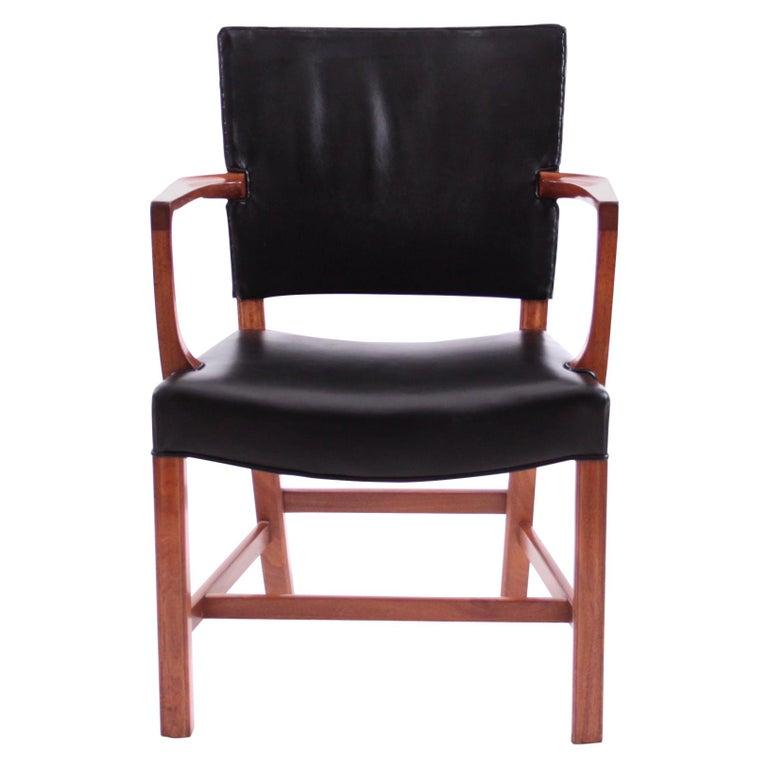 Kaare Klint Armchair Black Leather and Mahogany Frame For Sale