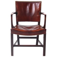Kaare Klint Armchair Dark Stained Oak and Original Patinated Niger Leather 1930s