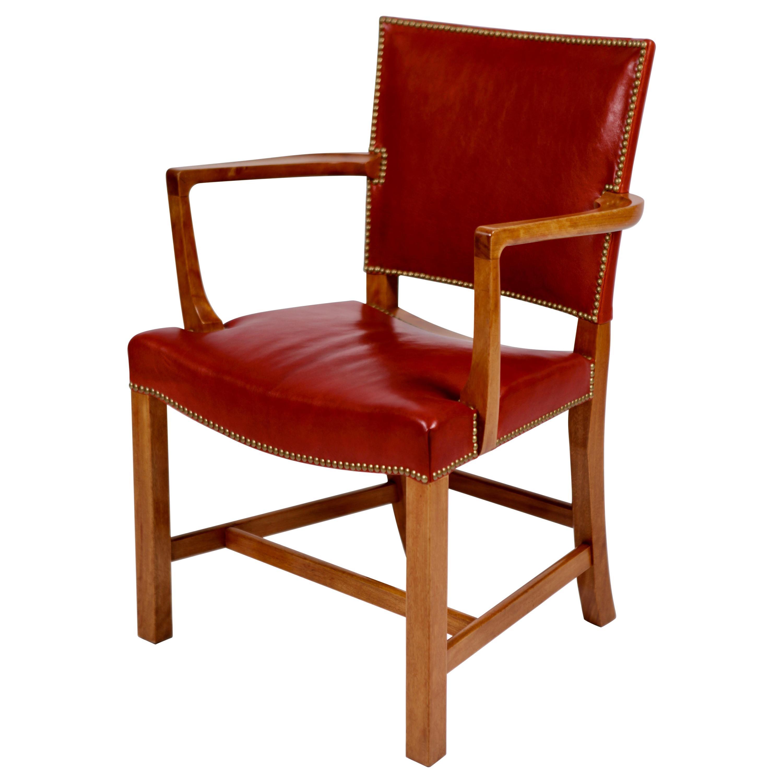 Kaare Klint, Barcelona Armchair, Red Leather and Cuban Mahogany, Denmark, 1950s