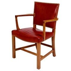 Kaare Klint, Barcelona Armchair, Red Leather and Cuban Mahogany, Denmark, 1950s
