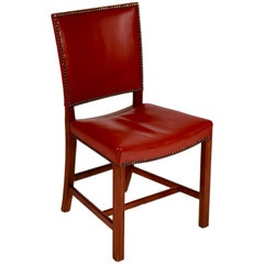 Kaare Klint, Barcelona Chair, Red Leather and Mahogany, Denmark, 1940s
