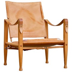 Kaare Klint Cognac Brown Leather Safari Chair, 1960s
