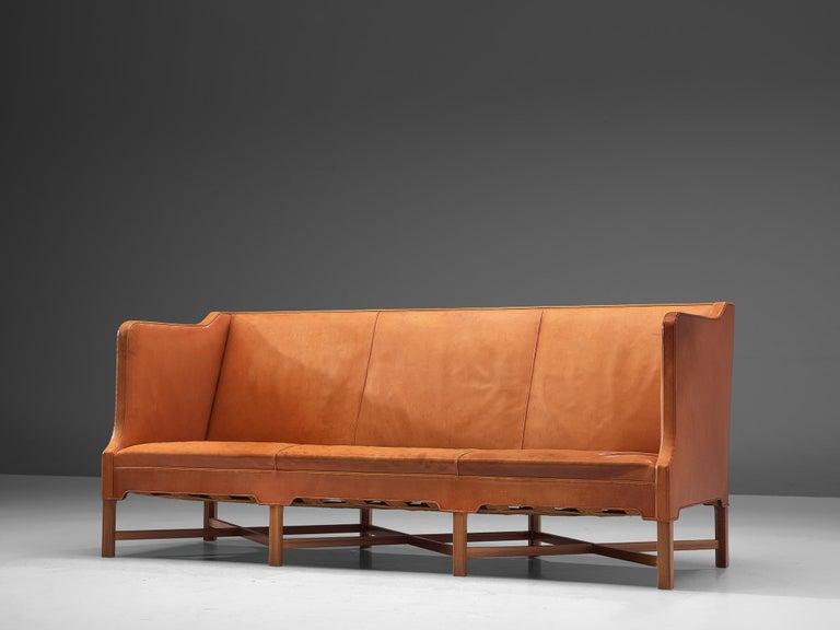 Scandinavian Modern Kaare Klint Early Sofa in Cognac Leather for Rud Rasmussen For Sale