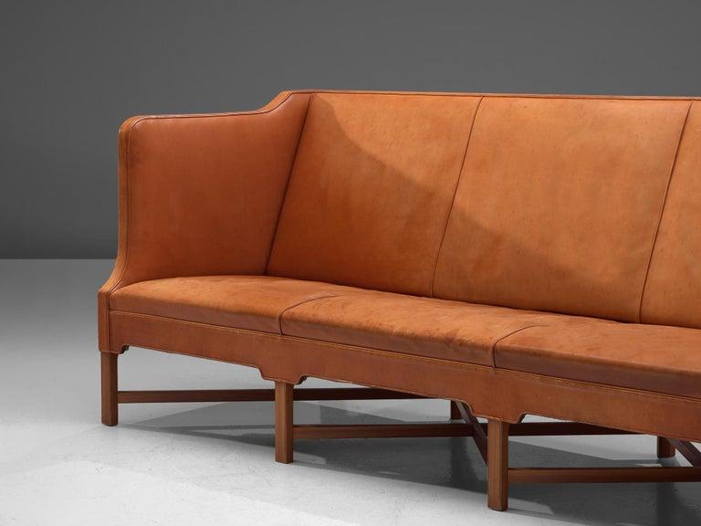 Kaare Klint Early Sofa in Cognac Leather for Rud Rasmussen In Good Condition For Sale In Waalwijk, NL