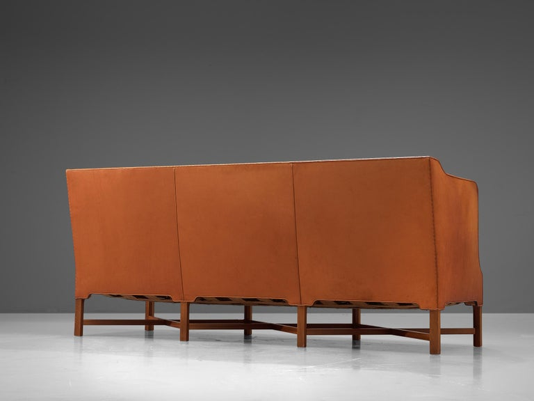 Kaare Klint Early Sofa in Cognac Leather for Rud Rasmussen For Sale 2