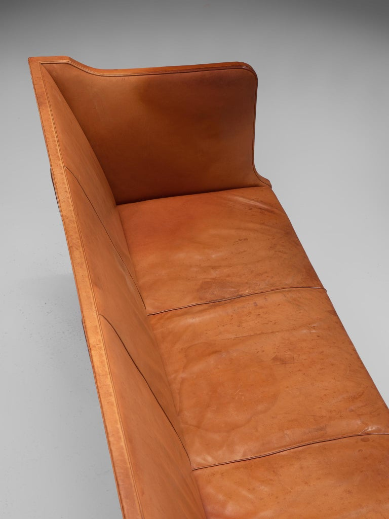 Kaare Klint Early Sofa in Cognac Leather for Rud Rasmussen For Sale 3