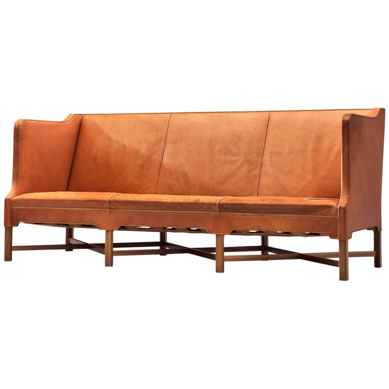 Kaare Klint Early Sofa in Cognac Leather for Rud Rasmussen For Sale