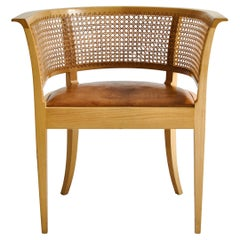 """Kaare Klint """"Faaborg"""" Arm Chair in Elm & Leather Made at Rud Rasmussen, 1970s"""