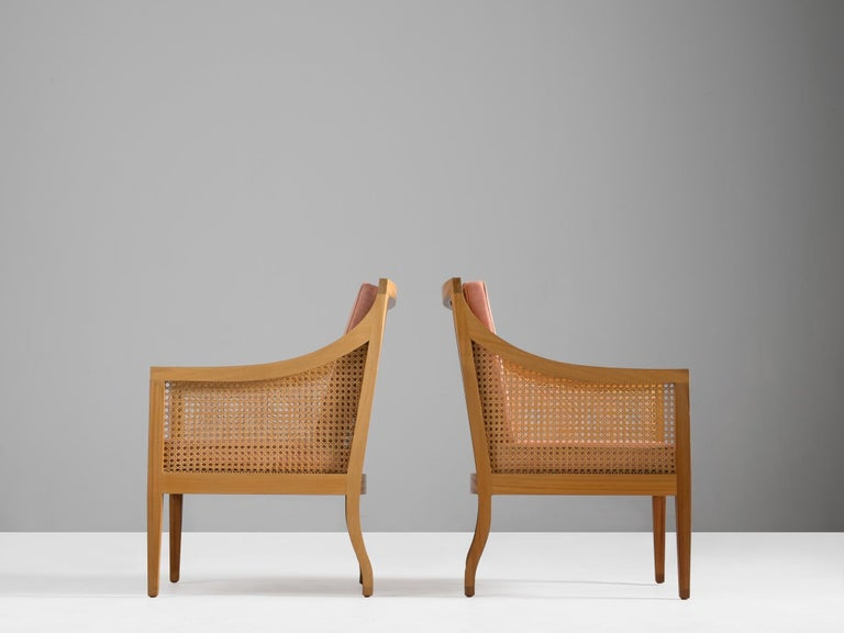 Scandinavian Modern Kaare Klint for Rasmussen Pair of '4488' Easy Chairs with Fabric Upholstery For Sale