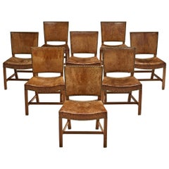 8 Early 'Red Chairs' in Original Niger Leather by Kaare Klint for Rud Rasmussen