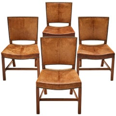 Kaare Klint for Rud Rasmussen Set of Four 'Red Chairs' in Original Leather