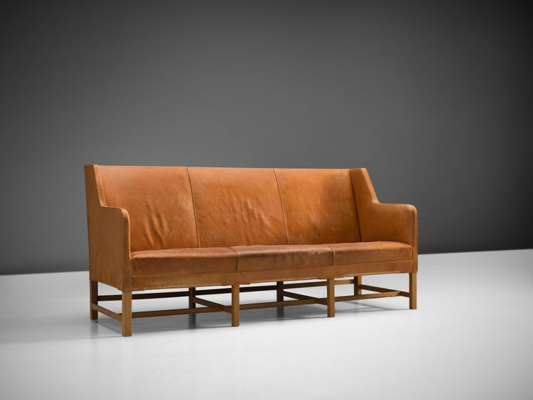 Danish Kaare Klint for Rud Rasmussen Sofa 4118 in Original Cognac Leather For Sale