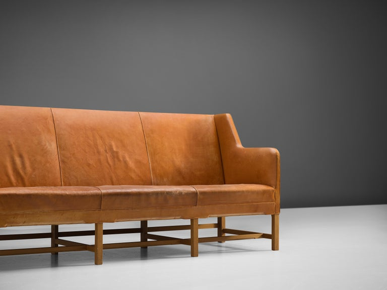 Wood Kaare Klint for Rud Rasmussen Sofa 4118 in Original Cognac Leather For Sale