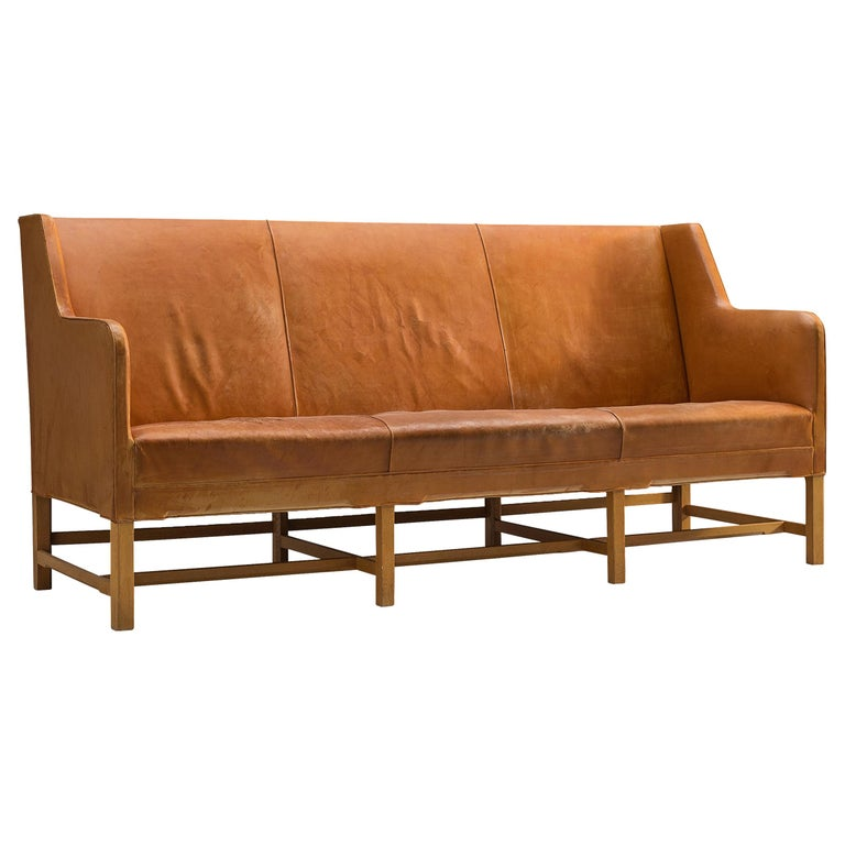 Kaare Klint for Rud Rasmussen Sofa 4118 in Original Cognac Leather For Sale