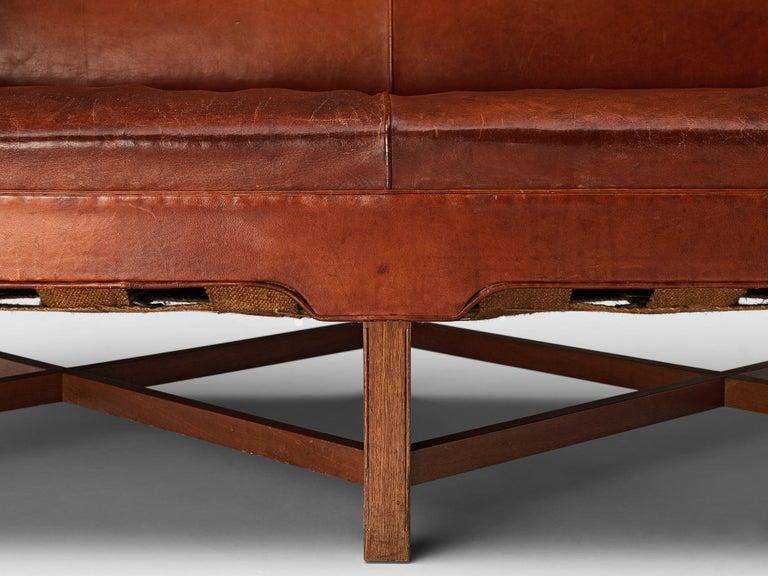 Danish Kaare Klint for Rud Rasmussen Sofa 4118 in Original Leather For Sale