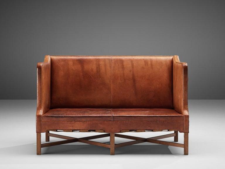 Kaare Klint for Rud Rasmussen Sofa 4118 in Original Leather In Good Condition For Sale In Waalwijk, NL