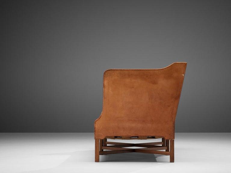 Mahogany Kaare Klint for Rud Rasmussen Sofa 4118 in Original Leather For Sale