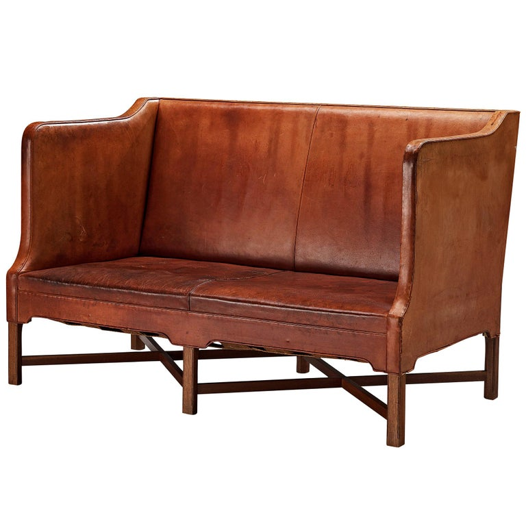Kaare Klint for Rud Rasmussen Sofa 4118 in Original Leather For Sale
