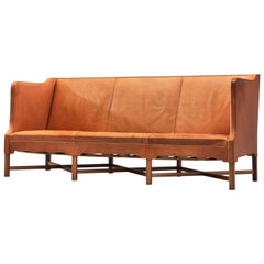 Kaare Klint for Rud Rasmussen Sofa Model 4118 in Cognac Leather