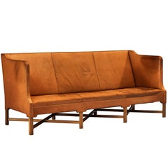 Kaare Klint for Rud Rasmussen Sofa Model 4118 in Cognac Leather