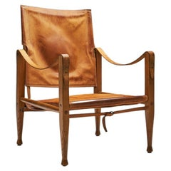"Kaare Klint KK47000 ""Safari"" Chair in Patinated Leather, Denmark, 1930s"