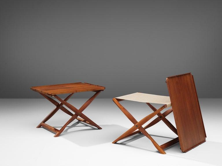 Kaare Klint for Rud Rasmussen, foldable 'Propeller' stool or side table model 8783, darkened ash, canvas, Denmark, design 1930, manufactured 1960s  Pair of 'Propeller' stools or side tables by Kaare Klint. Klint designed the model 8783 in 1930.