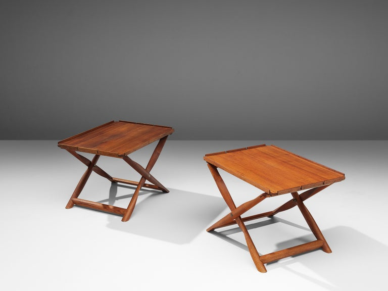 Danish Kaare Klint Pair of 'Propeller' Stools Side Tables in Ash and Canvas For Sale