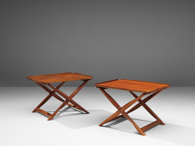 20th Century Kaare Klint Pair of 'Propeller' Stools Side Tables in Ash and Canvas For Sale