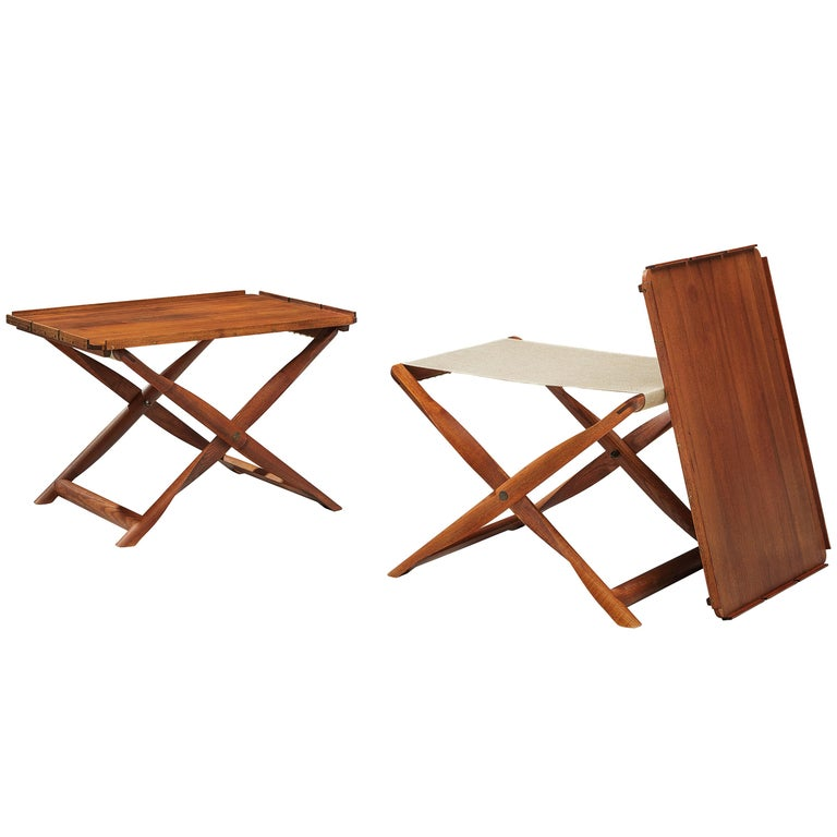 Kaare Klint Pair of 'Propeller' Stools Side Tables in Ash and Canvas For Sale