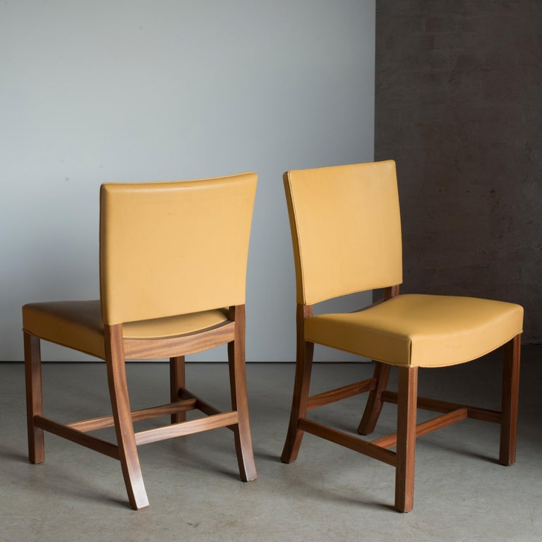 Scandinavian Modern Kaare Klint Pair of Red Chairs for Rud. Rasmussen For Sale