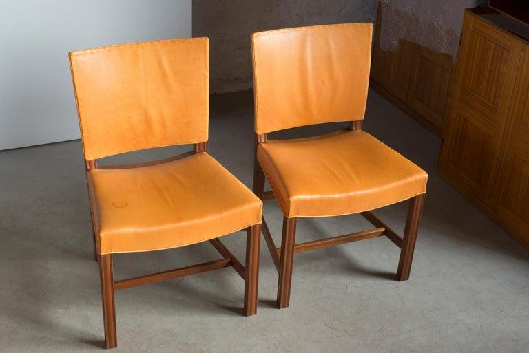 European Kaare Klint Pair of Red Chairs for Rud Rasmussen For Sale
