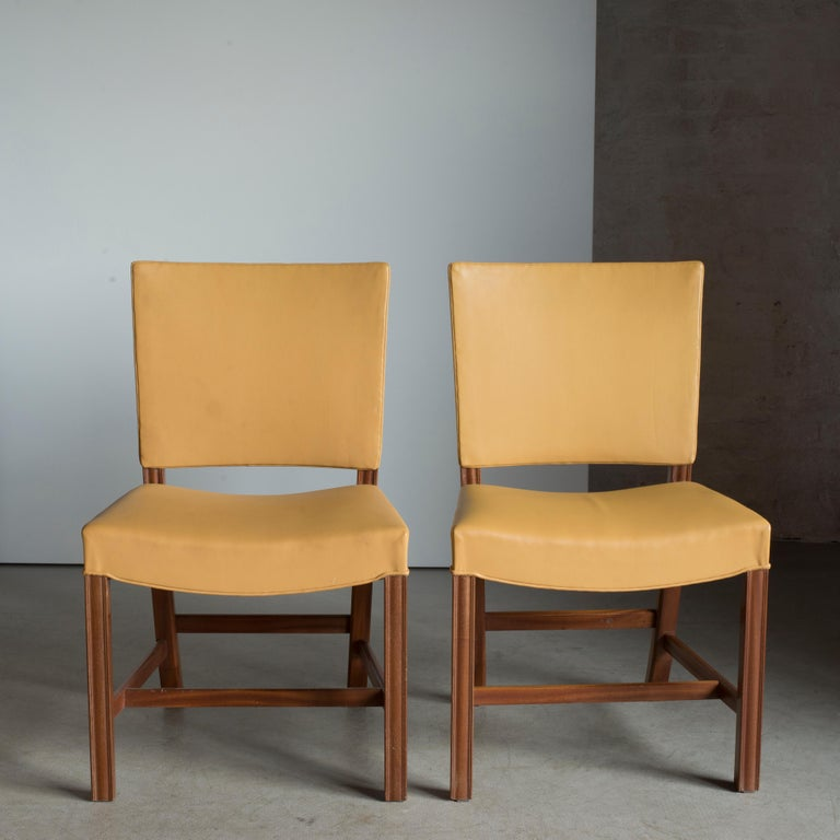 European Kaare Klint Pair of Red Chairs for Rud. Rasmussen For Sale