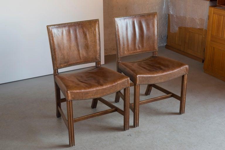 Kaare Klint Pair of Red Chairs for Rud. Rasmussen In Good Condition For Sale In Copenhagen, DK