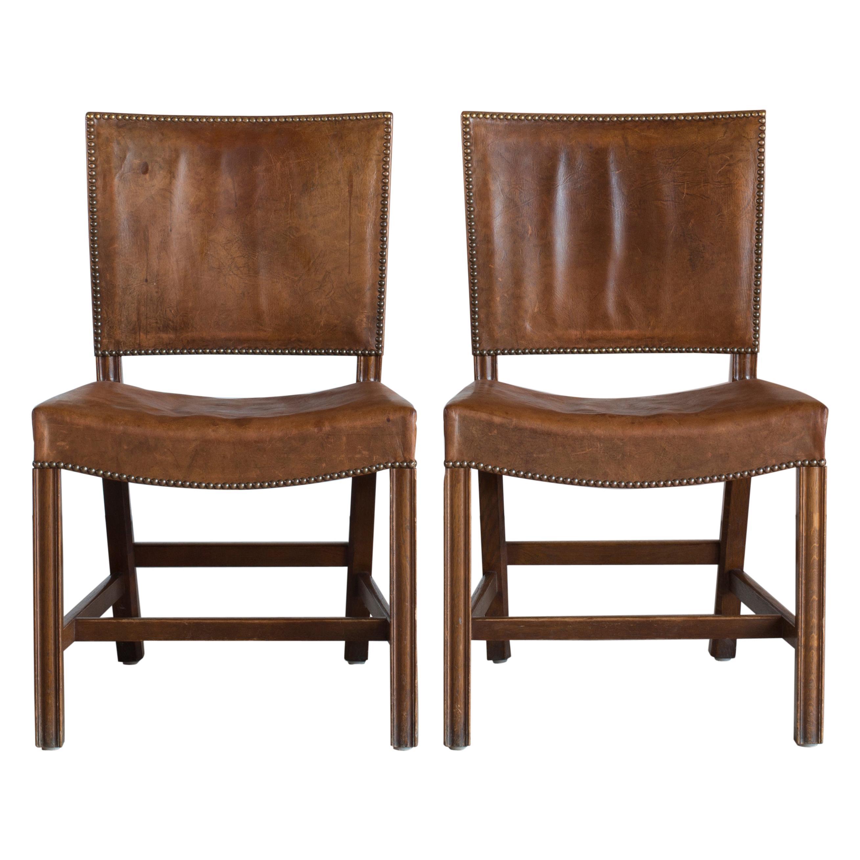 Kaare Klint Pair of Red Chairs for Rud. Rasmussen