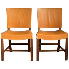 Kaare Klint Pair of Red Chairs for Rud Rasmussen