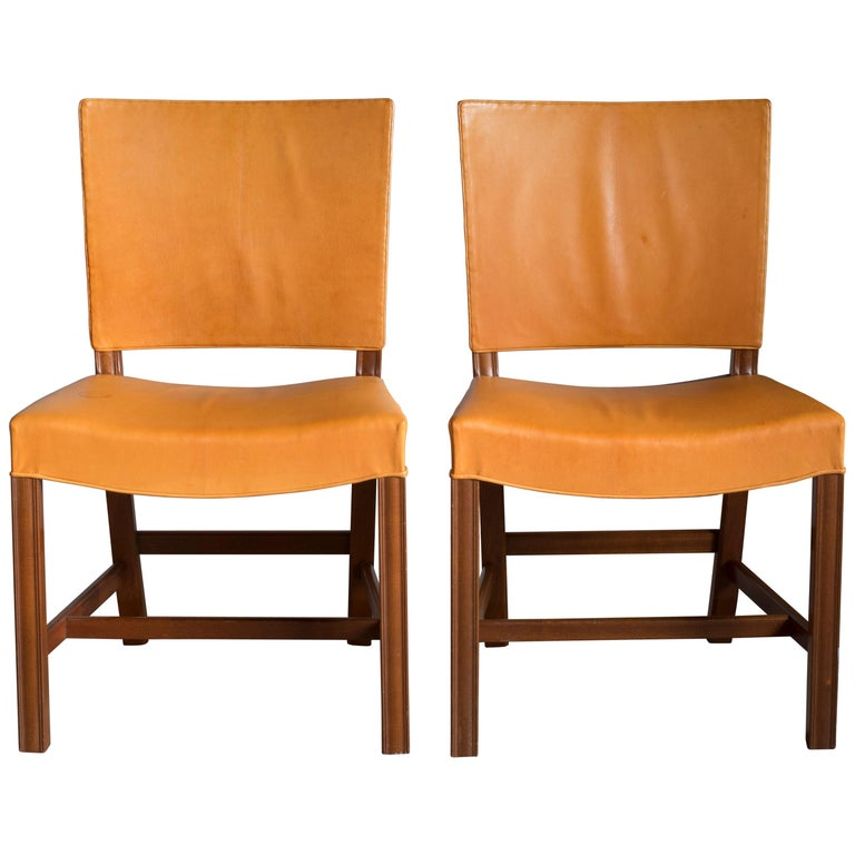Kaare Klint Pair of Red Chairs for Rud Rasmussen For Sale